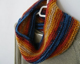 Batik Knit Scarf Cowl, Rust Red Blue Mustard Mens Womens Chunky Neckwarmer, Knitted Winter Infinity Ombre Scarf, Rustic colorful Neck Warmer