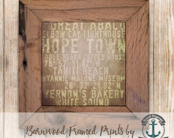 Hope Town Bahamas, Brown - Framed in Reclaimed Barnwood Beach House Style - Handmade Ready to Hang | Size and Price via Dropdown