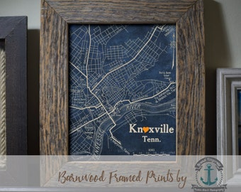 Knoxville Framed Print in Reclaimed Barnwood Vintage Map Style - Handmade Ready to Hang | Size & Price via Dropdown