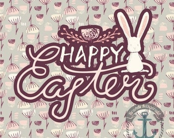 Happy Easter Floral Bunny Rabbit Shabby Chic Decor | Product Options and Pricing via Dropdown Menu