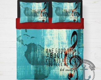 Music Duvet Set | One Good Thing About Love Marley Lyrics | Duvet Cover + 2 Standard Pillow Cases | Made in the USA