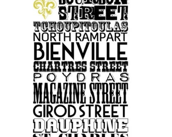 The Big Easy Streets | New Orleans Streets Neighborhood Typography | At Checkout, Choose Lustre Print or Gallery Wrapped Canvas