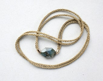 Minimalist Grey Labradorite necklace with vintage gold cord, Black and Gold and gemstone Necklace Pendant