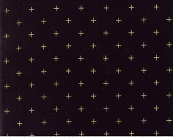 Metallic Gold Crosses on Black from Moda Fabric's Modern Luster Collection by Zen Chic