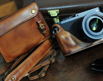 Cow leather case for Leica Q include leather full case and leather strap in vintage brown