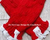 Christmas Valentines Day boot sock baby leg warmers ruffle crochet lace red white dress up 3 6 9 12 18 24 m 2t 3t 4t 5 6 7 8  toddler SALE
