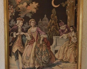 Sale Beautiful Linen Tapestry Textile French Rococo Period Scene Courting Couples Lovers Art Home Decor