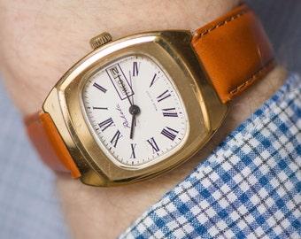 Modern men's watch Rocket, chunky wristwatch gold plated, shock proof watch, men's mechanical wristwatch gift, premium leather strap new