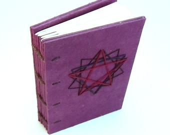 Coptic Bound Mini Book of Shadows with Embroidered Pentagram