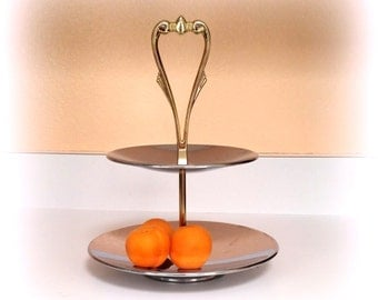 KROMEX 2-Tiered Serving Platter - Shiny Chrome - Brass Handle - Made in the USA