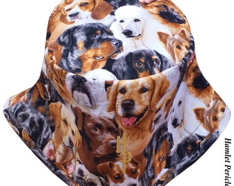 Dogs Allover Unisex Bucket Hat | Dog Hat | Dogs | Rottweiler | Terrier | Poodle | Brown Hat | Beagle | Animal Print by HamletPericles