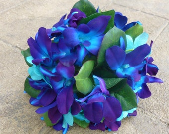 Galaxy orchid, purpl blue, turquoise bridesmaids bouquet, small bridal bouquet, toss away bouquet