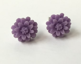 Amethyst Colored Rose Cabochon Earrings