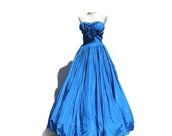 Bule Taffeta Strapless Gown