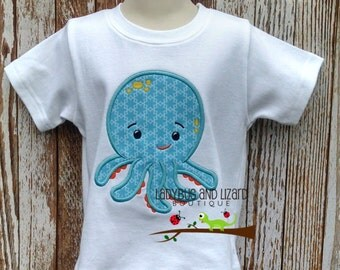Boy's Blue Octopus Top with Monogram Size 12M-18M, 2T-5T, 6