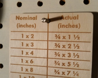 Lumber Dimensions Reference Card (Engraved wood)