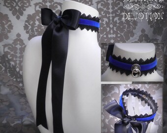 Princess in Royal Blue Collar with Large Bow - Made To Order - Absolute Devotion