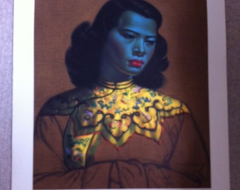 RARE TRETCHIKOFF The Chinese Girl 1950s Vintage Kitsch Art Print LARGE