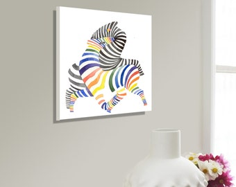 ZEBRA ART CANVAS,couples zebras,Wedding Gift for Couples ,watercolor zebra,abstract zebra decor,watercolor animal canvas art, zebra print