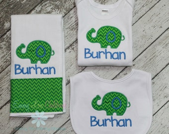 Elephant Baby Gift Set - Burp cloth, Bib, and Bodysuit - Baby Gift Set, Baby Gift, Personalized