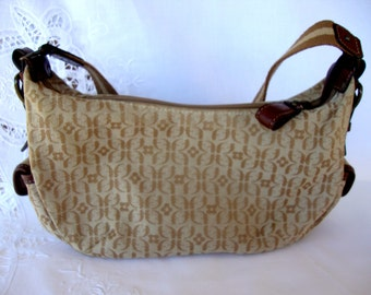 Vintage Fossil purse signature fabric side pockets leather accents FOSSIL key hand bag handbag