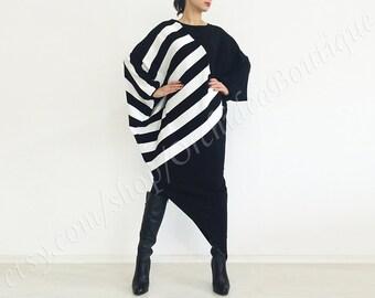 BLACK AND WHITE asymmetrical sweater maxi dress caftan tunic winter oversized plus size striped sweater fall fashion