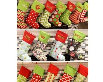 christmas stocking christmas stockings christmas stocking 16 patterns available price includes - Monogrammed Christmas Stockings