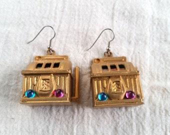 Slot Machine Earrings, Vintage Casino Pierced Earrings