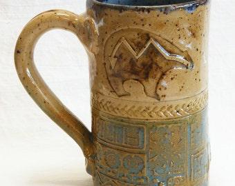 hand built stoneware bear coffee mug 16oz stoneware 16A027