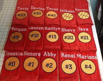 Personalized basketball towel, monogrammed great seller, basketball team towels, basketball gift, message for team orders