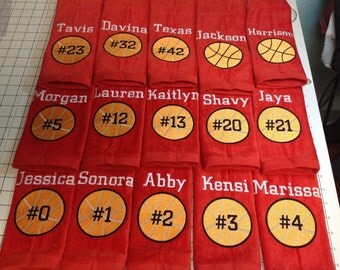 10 Personalized basketball towels with team discount and priority 3 day shipping upgrade. monogrammed great seller, basketball team towels,