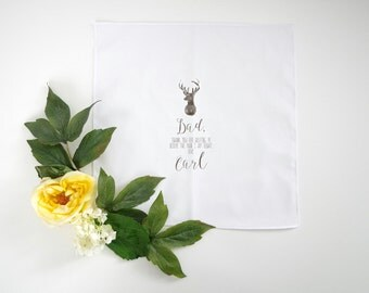 FATHER of the groom printed handkerchief with your choice of graphic straight edge handkerchief