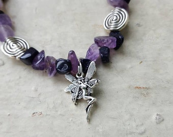 Gothic Faery Bracelet with Amethyst And Blue Goldstone