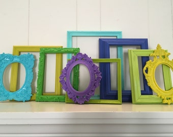 Green Blue Turquoise Empty Frame Set, Wall of Frames, Ornate Vintage Frames, Funky Hollywood Decor