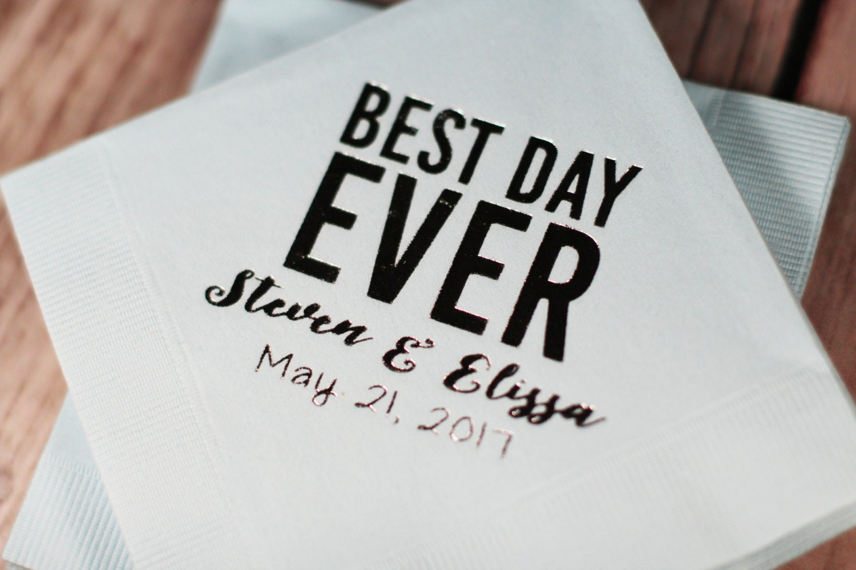 personalized napkins wedding napkins best day ever napkins