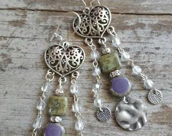 Heart Earrings Purple Cluster Earrings Green Earrings Long Earrings Chain Earrings