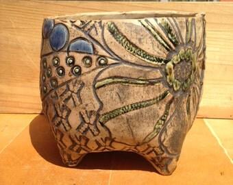 Jewel Toned Textured Ceramic Planter