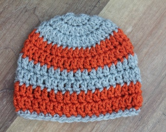 Striped Boys Crochet Hat, Orange and Gray Crochet Hat, Baby Boy Crochet Hat, Basic Beanie