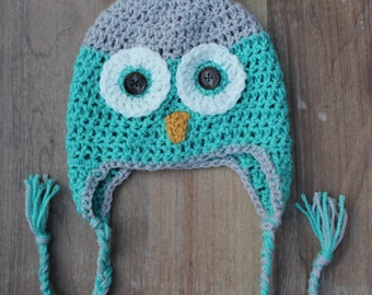 Crochet OWL Hat, Baby Owl Hat, Earflap Owl Hat, Newborn Photo Prop, Toddler Owl hat