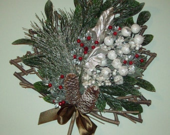 Wood Tree Shape Sparkly White Beads Red Berries Green Leaves