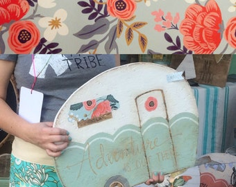 Retro camper cutout sign Pale Aqua with floral awning