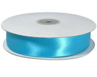 "Turquoise blue ribbon, 5 Yards double sided 1"" satin turquoise blue ribbon, 25mm ribbon"