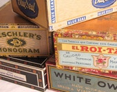 Five Vintage Cigar Boxes - White Owl - Cigars - Blue Label - Cigar Box Labels - Storage - Craft Supplies - Tobacciana - Collectibles