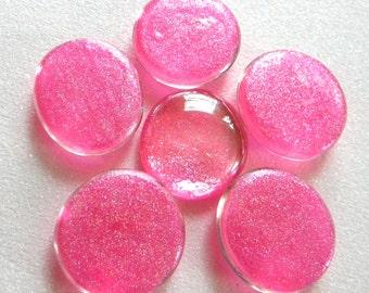 Extra Large HOT PINK Glitter Glass Gems - Set of 6