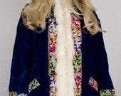 Nos Vintage 1960's Rainbow Butterfly Embroidered Velvet PENNY LANE Hippie BoHo Coat Size M - Deadstock - New Old Stock