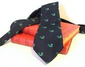 Vintage Whales Necktie Navy & Green Mens Tie