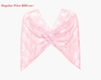 Pink lace shrug you can also wear as a shawl, crisscross and as a circle scarf. On sale, great Christmas gift (CL153)