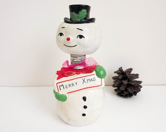 1950's Christmas Snowman Nodder with Merry Xmas Sign - Canape Server - Kitsch Party Decor - Holiday Figurine - Christmas Decoration