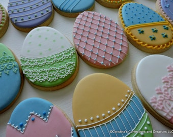 Large Easter Easter EGG Hand decorated sugar cookies(#2430)