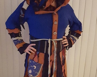 Medium to large hooded elf coat of upcycled sweaters in Ravenclaw colors ready to ship